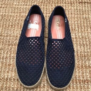 Keds Perforated Navy Blue Slipons Size 9